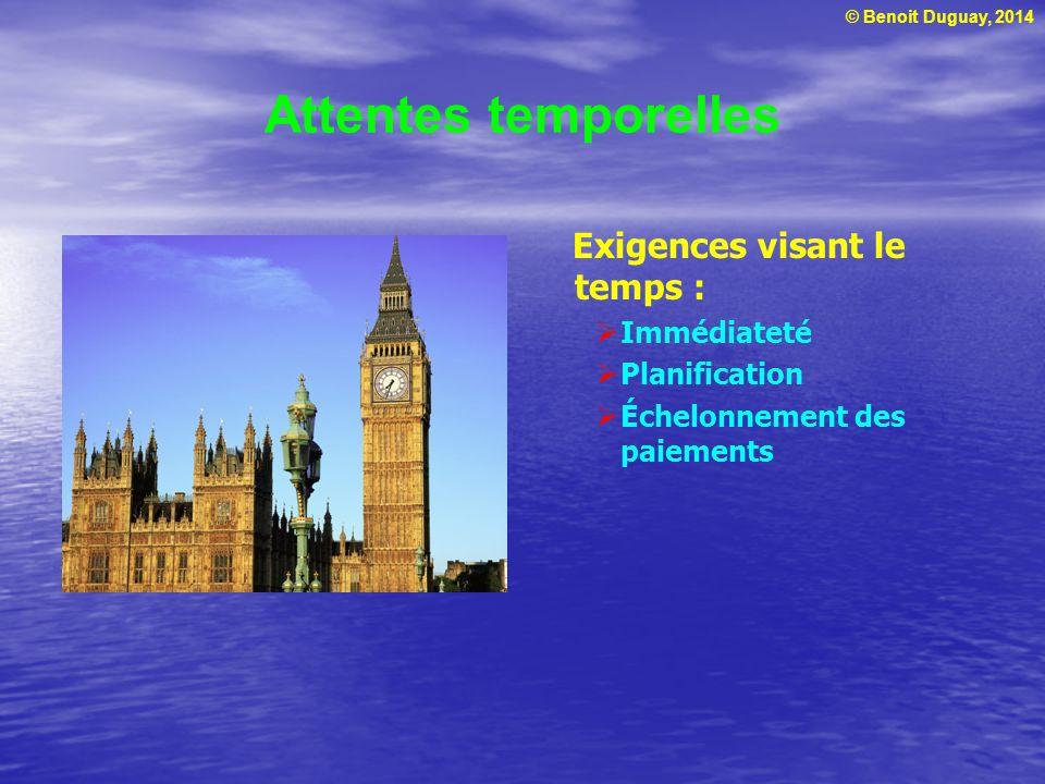 © Benoit Duguay, 2014 Attentes temporelles Exigences visant le temps : Immédiateté Planification Échelonnement des paiements