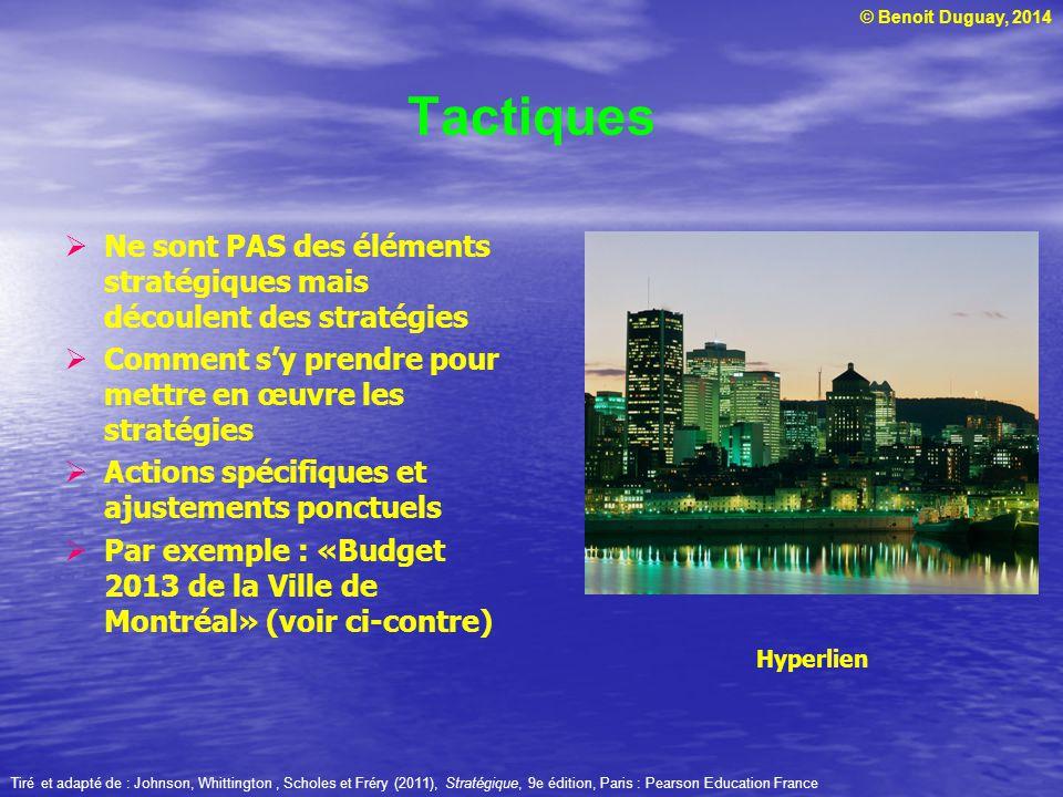 © Benoit Duguay, 2014 Tactiques Ne sont PAS des éléments stratégiques mais découlent des stratégies Comment sy prendre pour mettre en œuvre les stratégies Actions spécifiques et ajustements ponctuels Par exemple : «Budget 2013 de la Ville de Montréal» (voir ci-contre) Hyperlien Tiré et adapté de : Johnson, Whittington, Scholes et Fréry (2011), Stratégique, 9e édition, Paris : Pearson Education France