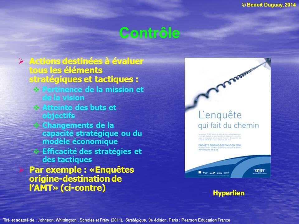 © Benoit Duguay, 2014 Contrôle Actions destinées à évaluer tous les éléments stratégiques et tactiques : Pertinence de la mission et de la vision Atteinte des buts et objectifs Changements de la capacité stratégique ou du modèle économique Efficacité des stratégies et des tactiques Par exemple : «Enquêtes origine-destination de lAMT» (ci-contre) Hyperlien Tiré et adapté de : Johnson, Whittington, Scholes et Fréry (2011), Stratégique, 9e édition, Paris : Pearson Education France