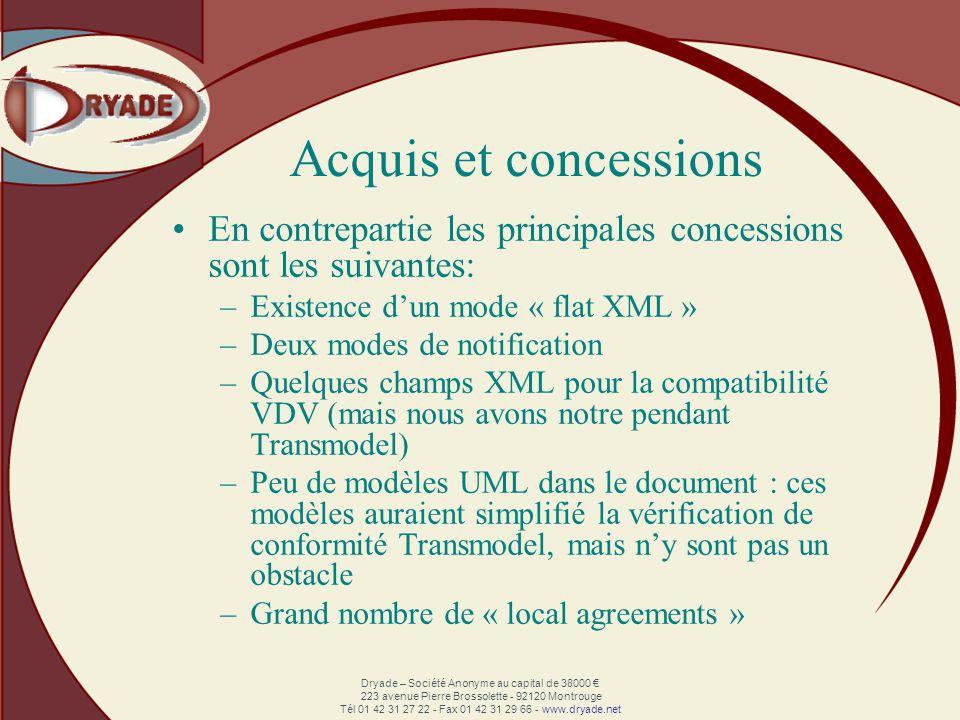 Dryade – Société Anonyme au capital de 38000 223 avenue Pierre Brossolette - 92120 Montrouge Tél 01 42 31 27 22 - Fax 01 42 31 29 66 - www.dryade.net Acquis et concessions En contrepartie les principales concessions sont les suivantes: –Existence dun mode « flat XML » –Deux modes de notification –Quelques champs XML pour la compatibilité VDV (mais nous avons notre pendant Transmodel) –Peu de modèles UML dans le document : ces modèles auraient simplifié la vérification de conformité Transmodel, mais ny sont pas un obstacle –Grand nombre de « local agreements »