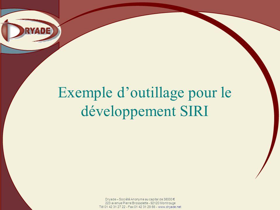 Dryade – Société Anonyme au capital de 38000 223 avenue Pierre Brossolette - 92120 Montrouge Tél 01 42 31 27 22 - Fax 01 42 31 29 66 - www.dryade.net Exemple doutillage pour le développement SIRI