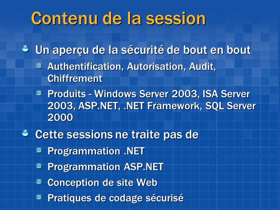 Contenu de la session Un aperçu de la sécurité de bout en bout Authentification, Autorisation, Audit, Chiffrement Produits - Windows Server 2003, ISA