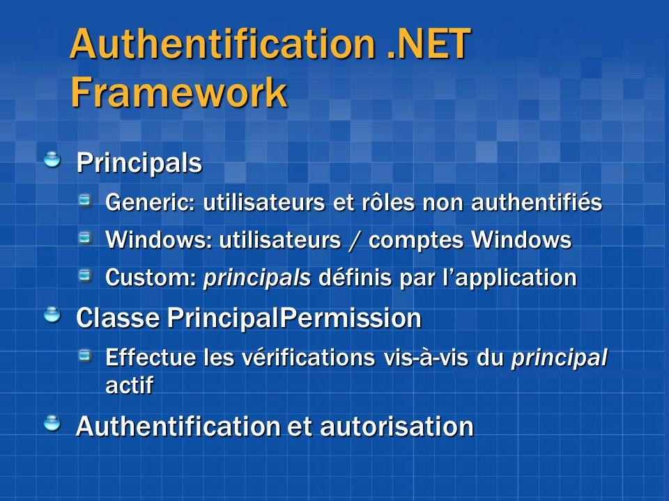 Authentification.NET Framework Principals Generic: utilisateurs et rôles non authentifiés Windows: utilisateurs / comptes Windows Custom: principals d