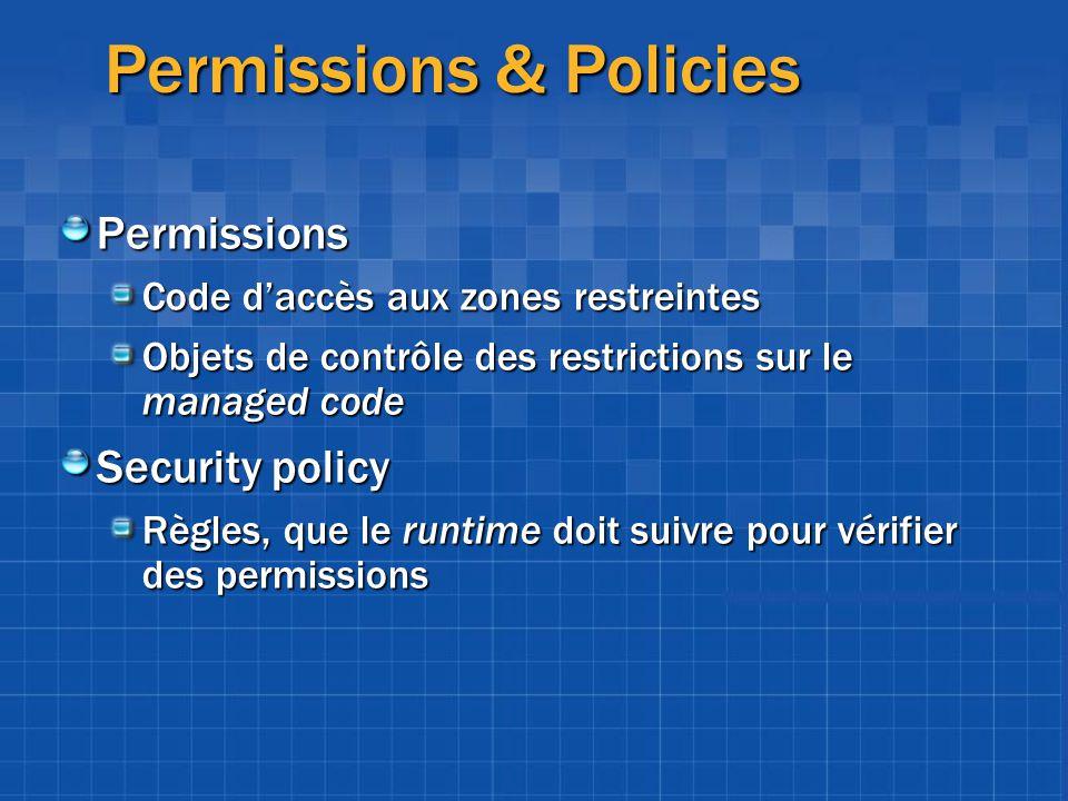 Permissions & Policies Permissions Code daccès aux zones restreintes Objets de contrôle des restrictions sur le managed code Security policy Règles, q