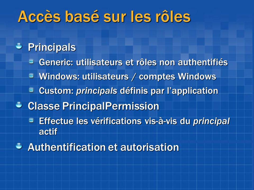 Accès basé sur les rôles Principals Generic: utilisateurs et rôles non authentifiés Windows: utilisateurs / comptes Windows Custom: principals définis