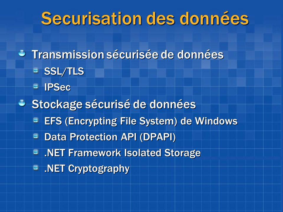 Securisation des données Transmission sécurisée de données SSL/TLSIPSec Stockage sécurisé de données EFS (Encrypting File System) de Windows Data Prot