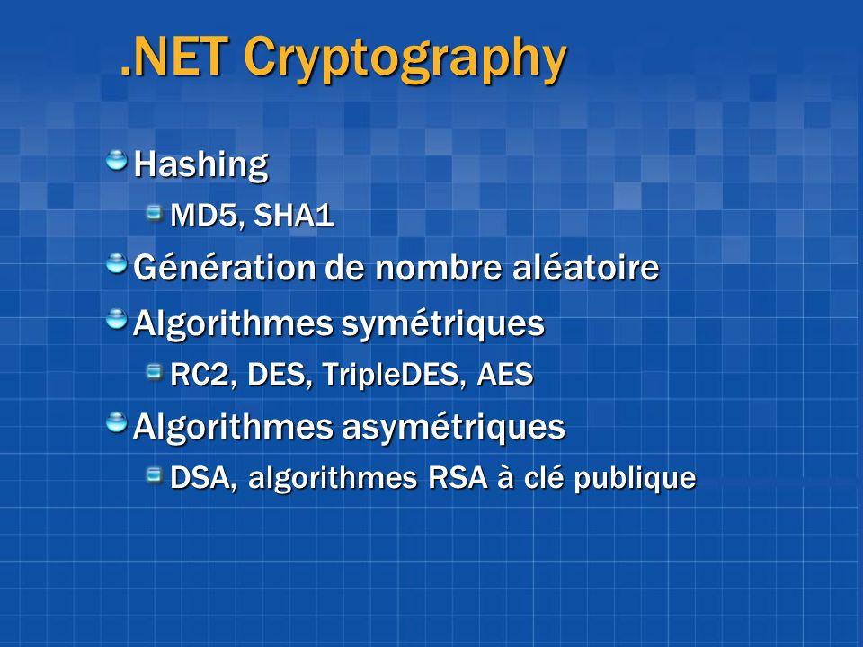 .NET Cryptography Hashing MD5, SHA1 Génération de nombre aléatoire Algorithmes symétriques RC2, DES, TripleDES, AES Algorithmes asymétriques DSA, algo