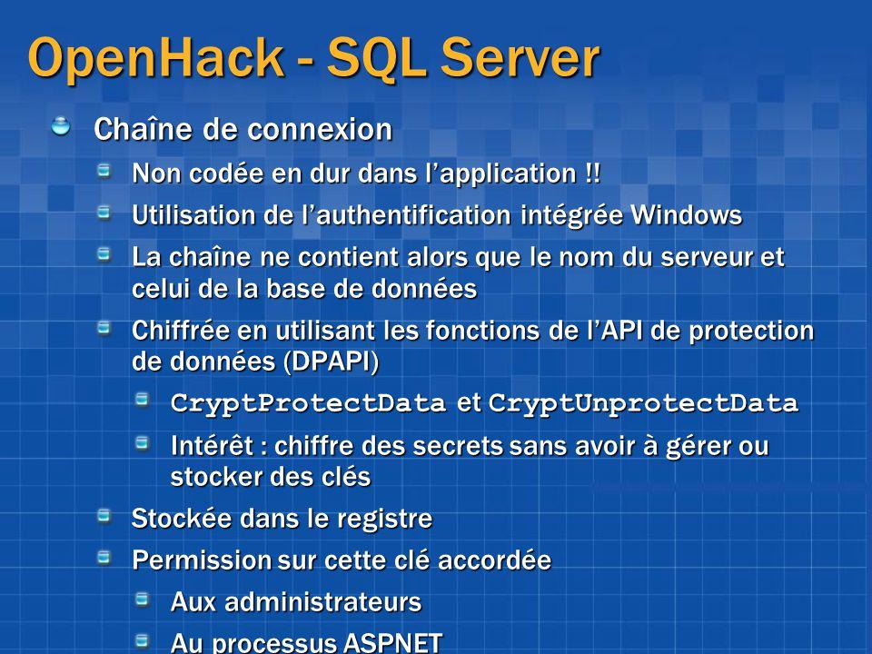 OpenHack - SQL Server Chaîne de connexion Non codée en dur dans lapplication !! Utilisation de lauthentification intégrée Windows La chaîne ne contien