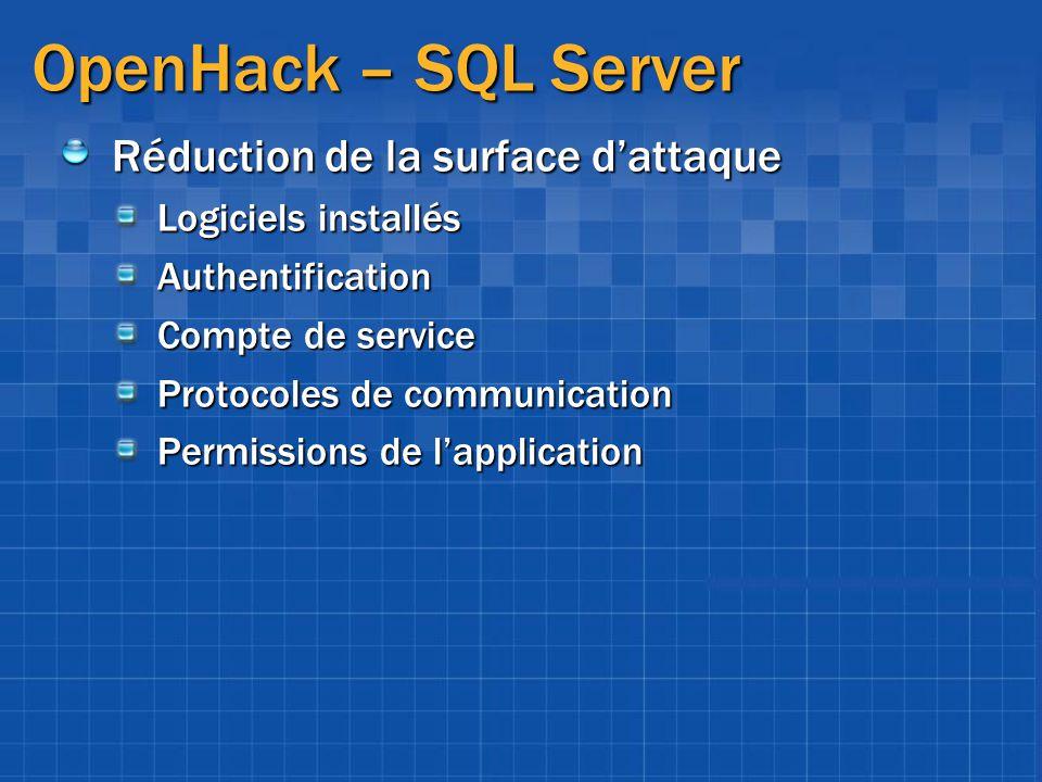 OpenHack – SQL Server Réduction de la surface dattaque Logiciels installés Authentification Compte de service Protocoles de communication Permissions