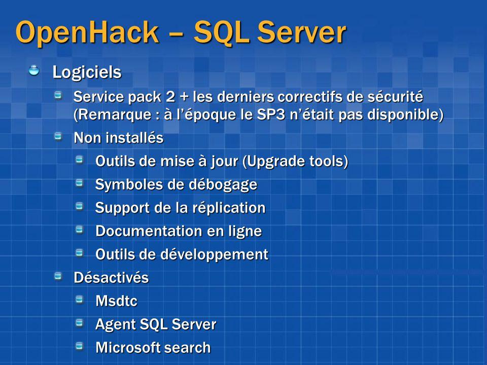 OpenHack – SQL Server Logiciels Service pack 2 + les derniers correctifs de sécurité (Remarque : à lépoque le SP3 nétait pas disponible) Non installés