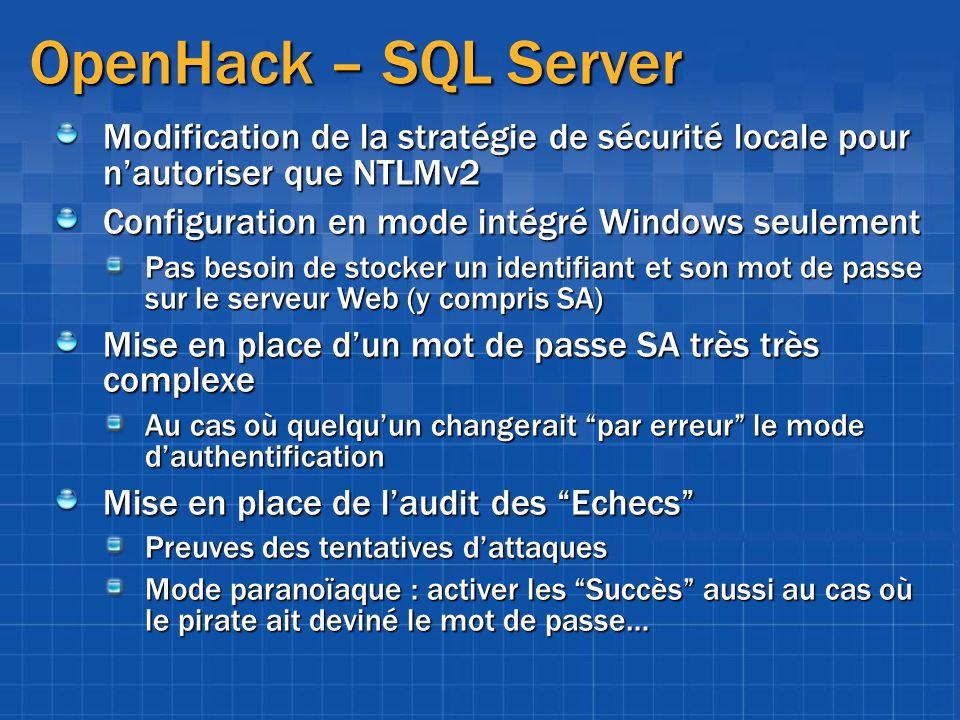 OpenHack – SQL Server Modification de la stratégie de sécurité locale pour nautoriser que NTLMv2 Configuration en mode intégré Windows seulement Pas b
