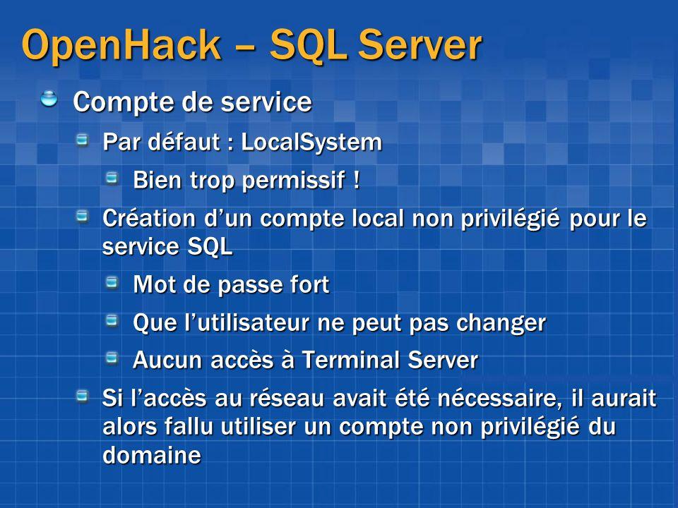 OpenHack – SQL Server Compte de service Par défaut : LocalSystem Bien trop permissif ! Création dun compte local non privilégié pour le service SQL Mo