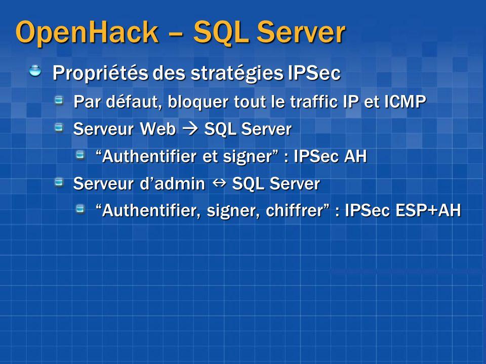 OpenHack – SQL Server Propriétés des stratégies IPSec Par défaut, bloquer tout le traffic IP et ICMP Serveur Web SQL Server Authentifier et signer : I