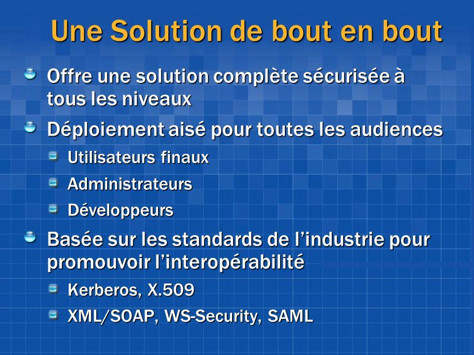 Une Solution de bout en bout Offre une solution complète sécurisée à tous les niveaux Déploiement aisé pour toutes les audiences Utilisateurs finaux A