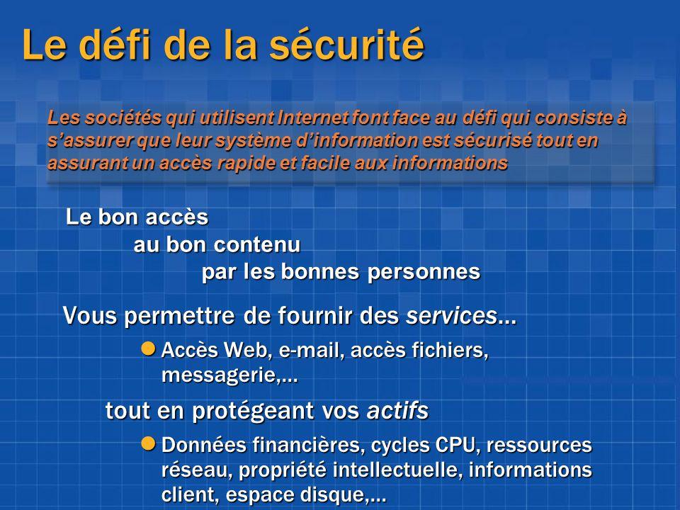 Authentification.NET Framework Principals Generic: utilisateurs et rôles non authentifiés Windows: utilisateurs / comptes Windows Custom: principals définis par lapplication Classe PrincipalPermission Effectue les vérifications vis-à-vis du principal actif Authentification et autorisation