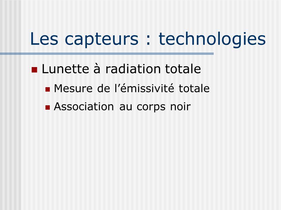 Les capteurs : technologies Lunette à radiation totale Mesure de lémissivité totale Association au corps noir