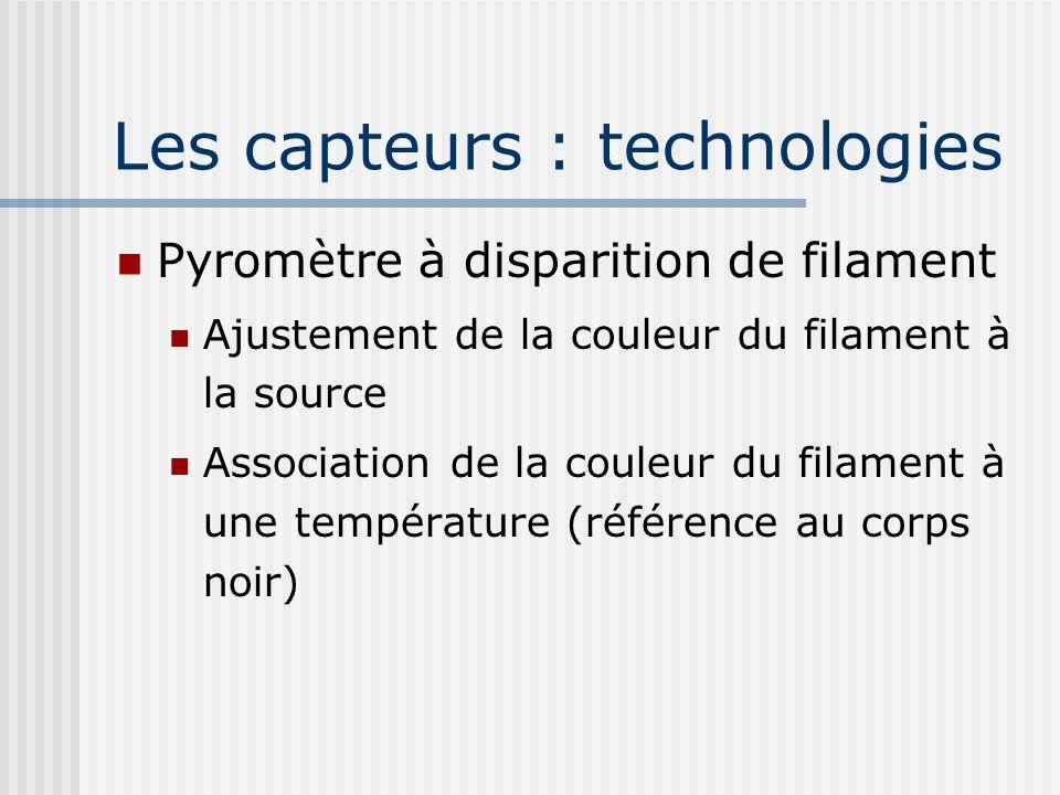 Les capteurs : technologies Pyromètre à disparition de filament Ajustement de la couleur du filament à la source Association de la couleur du filament