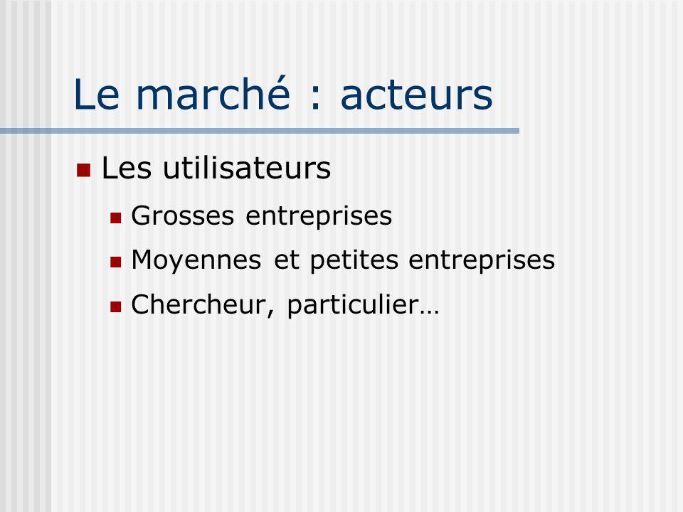 Le marché : acteurs Les utilisateurs Grosses entreprises Moyennes et petites entreprises Chercheur, particulier…
