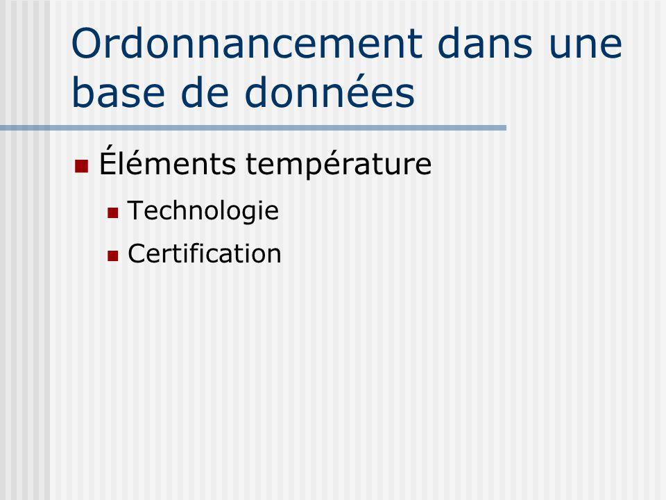 Ordonnancement dans une base de données Éléments température Technologie Certification