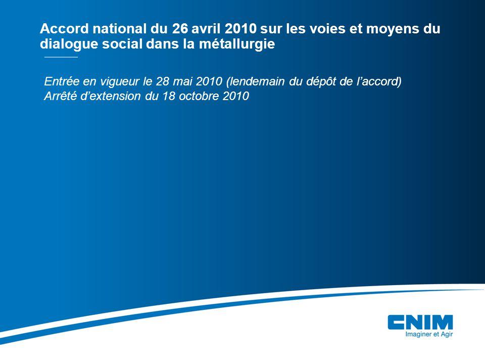 Entrée en vigueur le 28 mai 2010 (lendemain du dépôt de laccord) Arrêté dextension du 18 octobre 2010 Accord national du 26 avril 2010 sur les voies et moyens du dialogue social dans la métallurgie