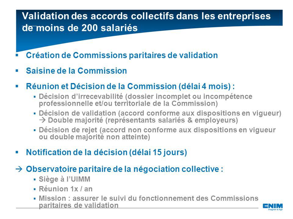Validation des accords collectifs dans les entreprises de moins de 200 salariés Création de Commissions paritaires de validation Saisine de la Commiss