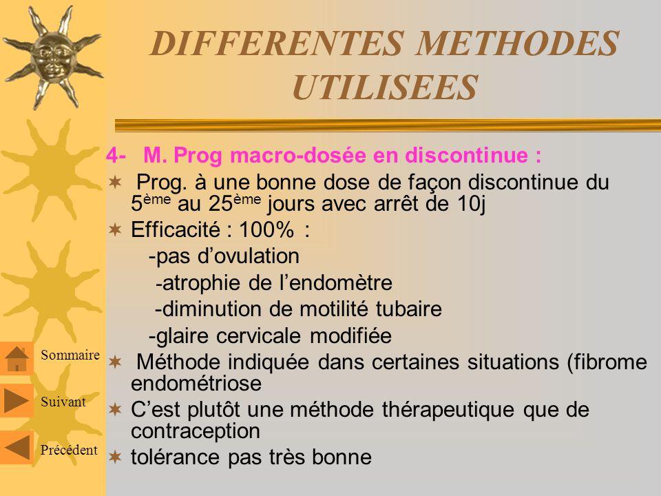 DIFFERENTES METHODES UTILISEES 3. M. progestative micro dosée en continu : P. de synthèse à faible dose régulièrement sans interruption début au 1 er