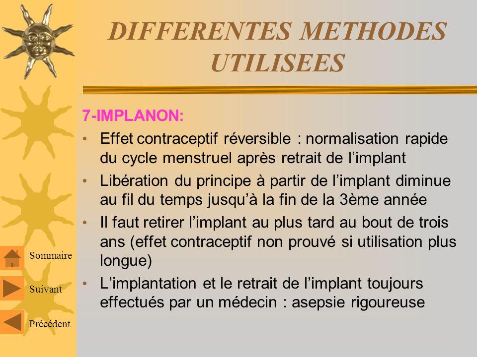 DIFFERENTES METHODES UTILISEES 7-IMPLANON: Contraceptif par voie sous-cutanée Non biodégradable: étonogestrel Métabolite actif du désogestrel: dérive