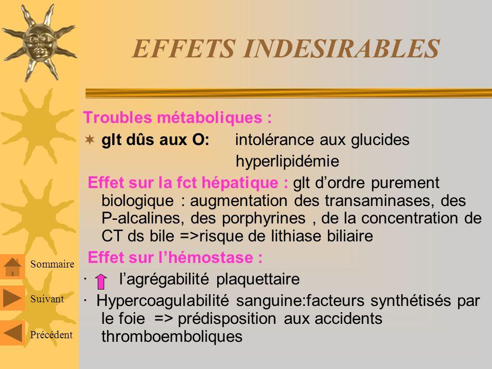 EFFETS INDESIRABLES Tendance à diminuer avec les OP faiblement dosés Déséquilibre hormonal : -excés dO : S.dig : N, crises migraineuses, HTA, Céphalée