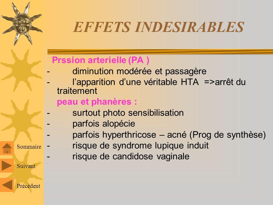 EFFETS INDESIRABLES Troubles métaboliques : glt dûs aux O: intolérance aux glucides hyperlipidémie Effet sur la fct hépatique : glt dordre purement bi