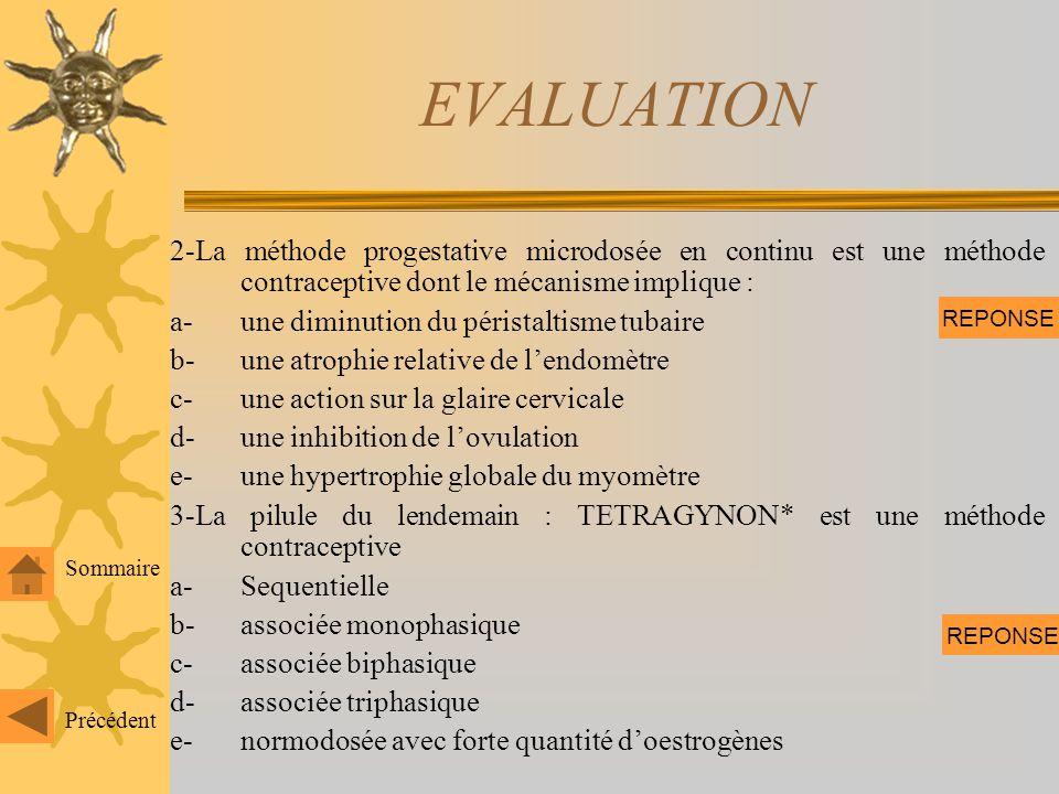EVALUATION 1-Les différentes méthodes de contraception orale sont : a-oestrogène microdosée en continu b-progestérone macrodosée en discontinu c-séque