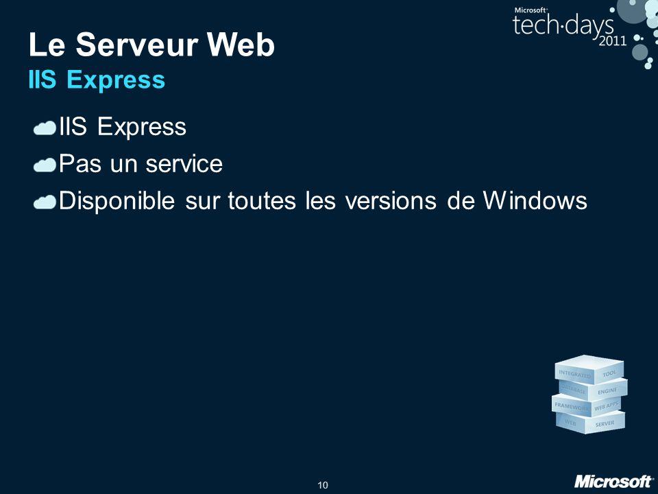 10 Le Serveur Web IIS Express IIS Express Pas un service Disponible sur toutes les versions de Windows