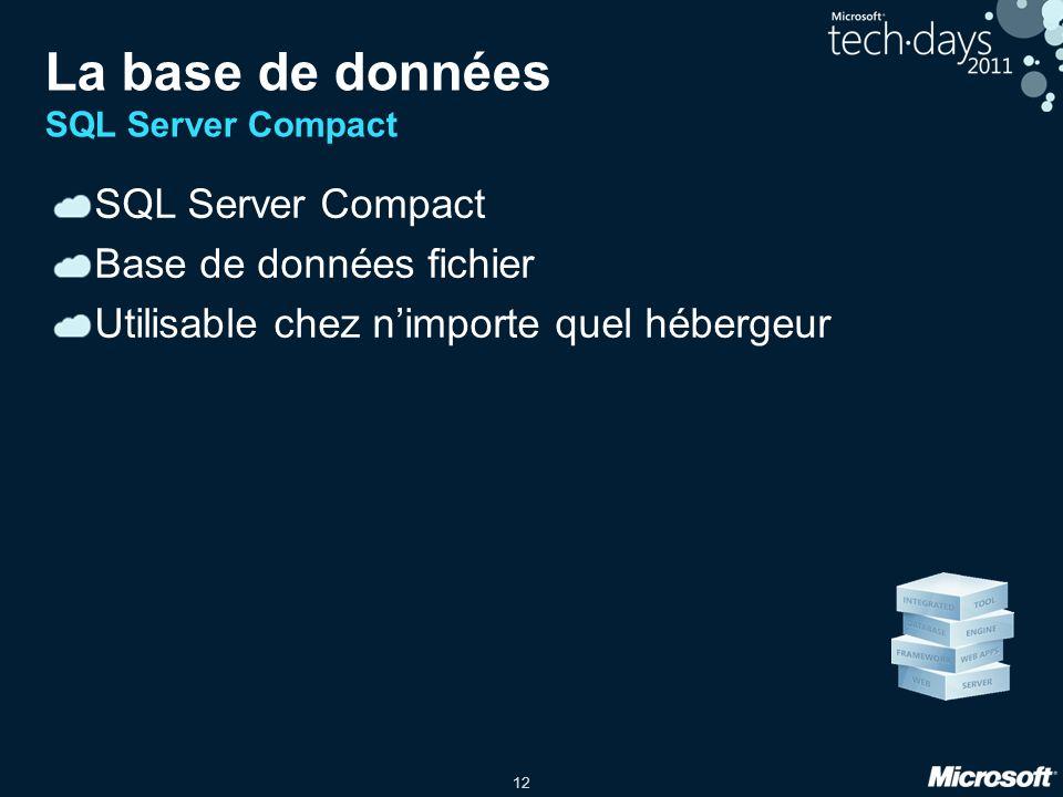 12 La base de données SQL Server Compact SQL Server Compact Base de données fichier Utilisable chez nimporte quel hébergeur