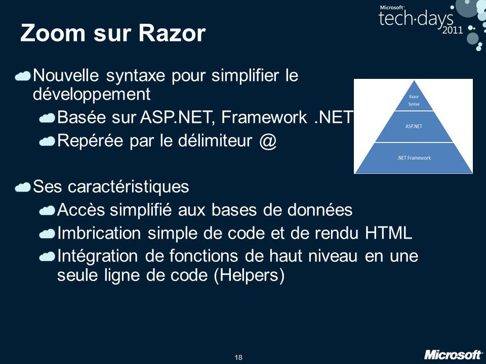 18 Zoom sur Razor Nouvelle syntaxe pour simplifier le développement Basée sur ASP.NET, Framework.NET Repérée par le délimiteur @ Ses caractéristiques Accès simplifié aux bases de données Imbrication simple de code et de rendu HTML Intégration de fonctions de haut niveau en une seule ligne de code (Helpers)