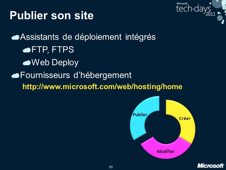 20 Publier son site Assistants de déploiement intégrés FTP, FTPS Web Deploy Fournisseurs dhébergement http://www.microsoft.com/web/hosting/home