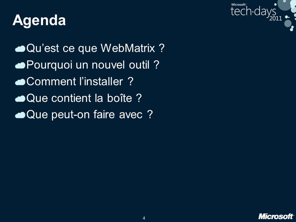 4 Agenda Quest ce que WebMatrix . Pourquoi un nouvel outil .