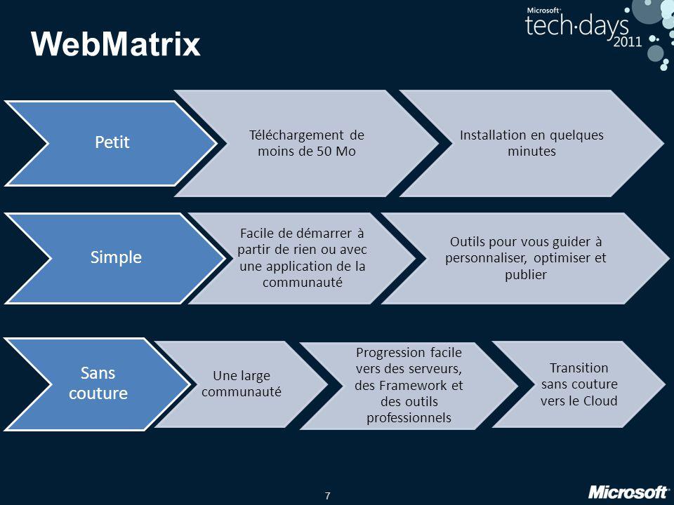 8 Installer WebMatrix A partir de http://www.microsoft.com/web/webmatrix Via Web Platform Installer 3.0 (Web PI)
