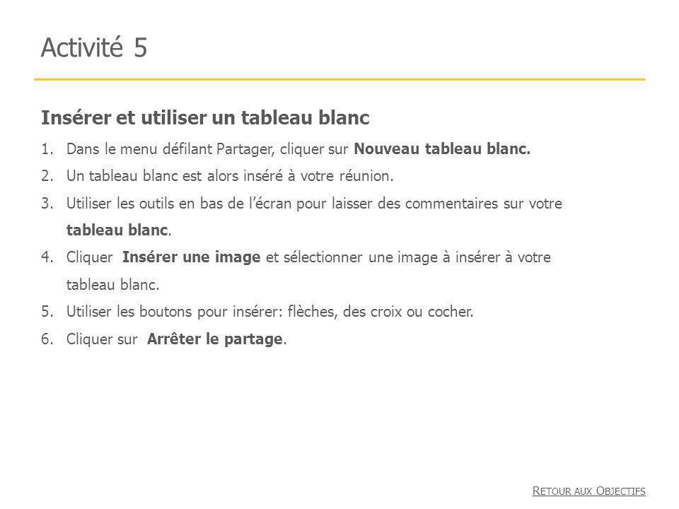 Insérer et utiliser un tableau blanc Activité 5 1.Dans le menu défilant Partager, cliquer sur Nouveau tableau blanc. 2.Un tableau blanc est alors insé