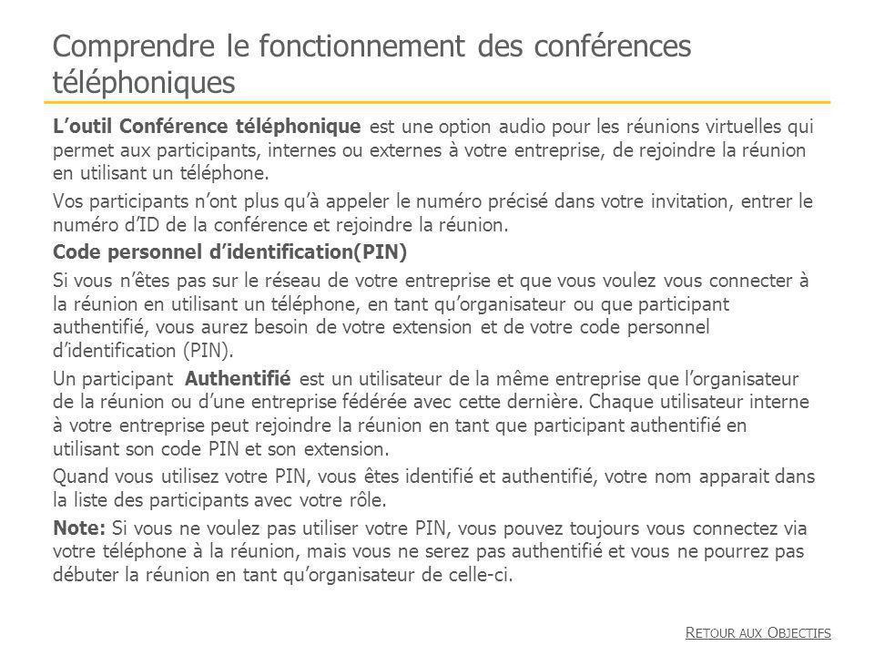 Comprendre le fonctionnement des conférences téléphoniques Loutil Conférence téléphonique est une option audio pour les réunions virtuelles qui permet