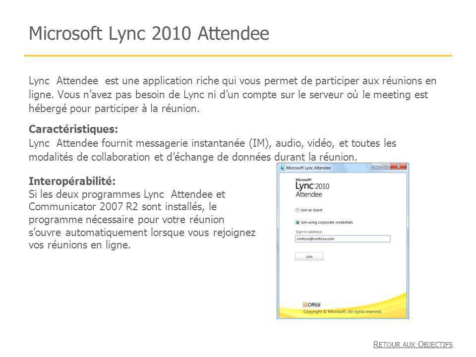 Microsoft Lync 2010 Attendee Lync Attendee est une application riche qui vous permet de participer aux réunions en ligne. Vous navez pas besoin de Lyn