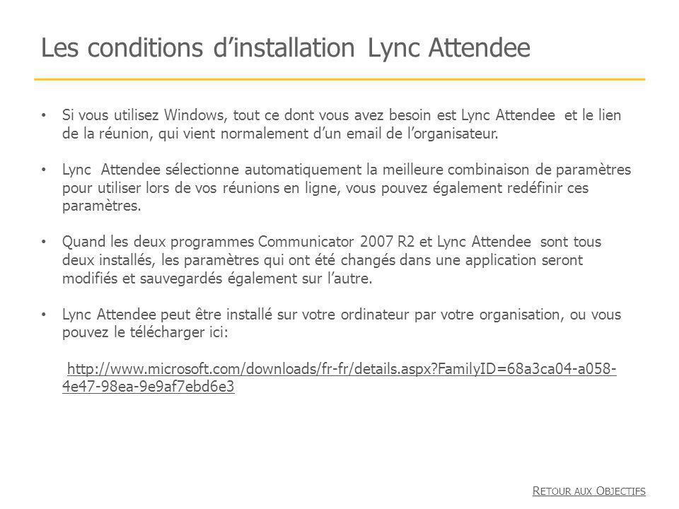 Les conditions dinstallation Lync Attendee Si vous utilisez Windows, tout ce dont vous avez besoin est Lync Attendee et le lien de la réunion, qui vient normalement dun email de lorganisateur.
