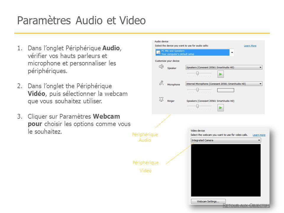 Paramètres Audio et Video 1.Dans longlet Périphérique Audio, vérifier vos hauts parleurs et microphone et personnaliser les périphériques. 2.Dans long