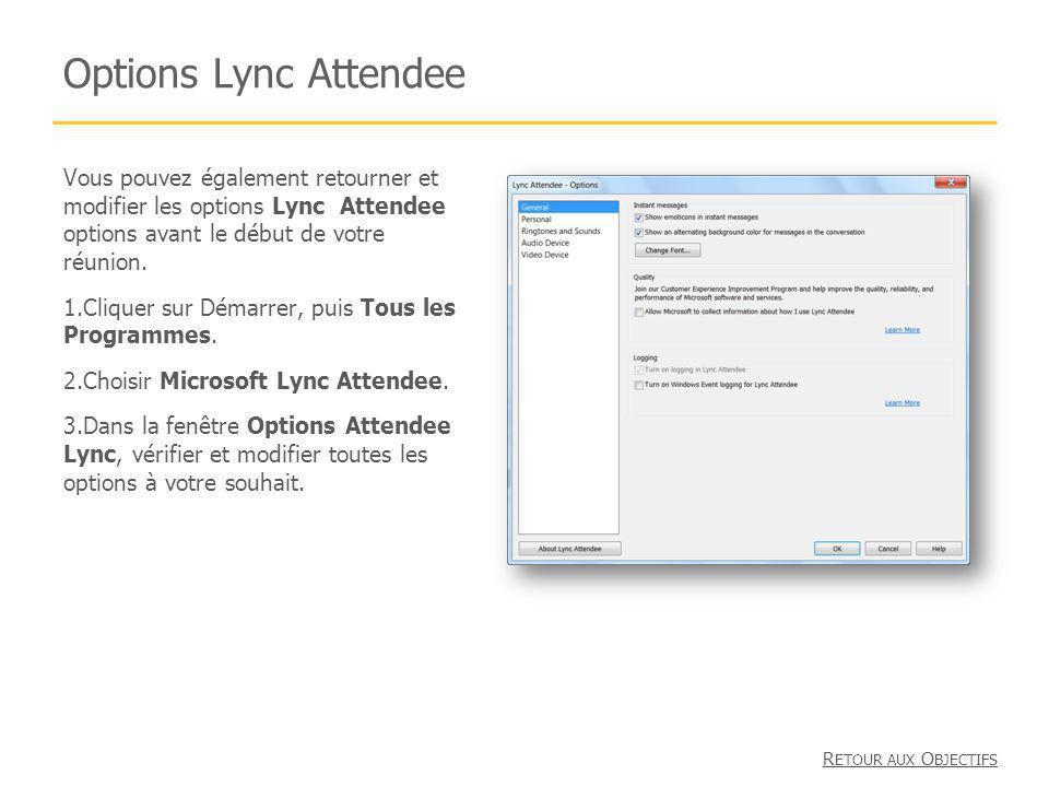 Options Lync Attendee Vous pouvez également retourner et modifier les options Lync Attendee options avant le début de votre réunion. 1.Cliquer sur Dém