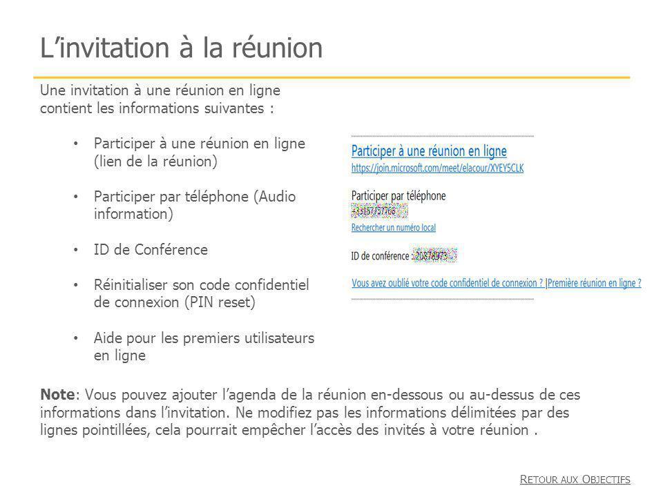 Linvitation à la réunion Une invitation à une réunion en ligne contient les informations suivantes : Participer à une réunion en ligne (lien de la réu