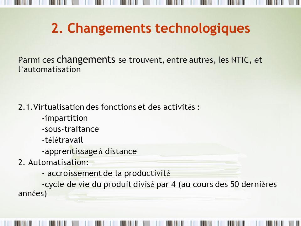 2. Changements technologiques Parmi ces changements se trouvent, entre autres, les NTIC, et l automatisation 2.1.Virtualisation des fonctions et des a