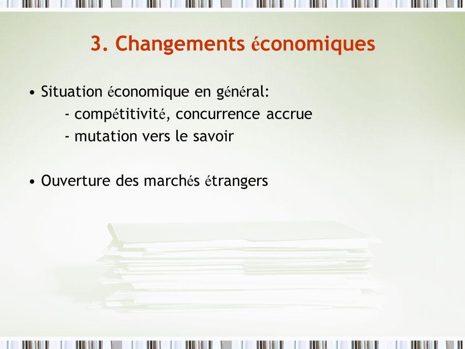 3. Changements é conomiques Situation é conomique en g é n é ral: - comp é titivit é, concurrence accrue - mutation vers le savoir Ouverture des march