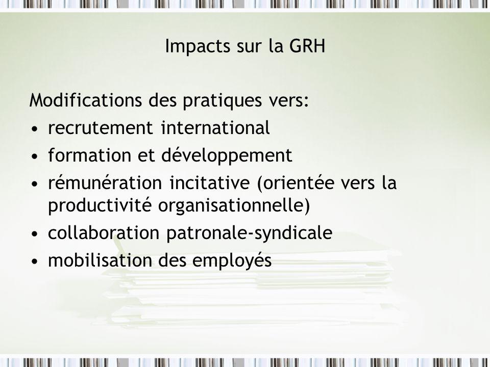 Impacts sur la GRH Modifications des pratiques vers: recrutement international formation et développement rémunération incitative (orientée vers la productivité organisationnelle) collaboration patronale-syndicale mobilisation des employés