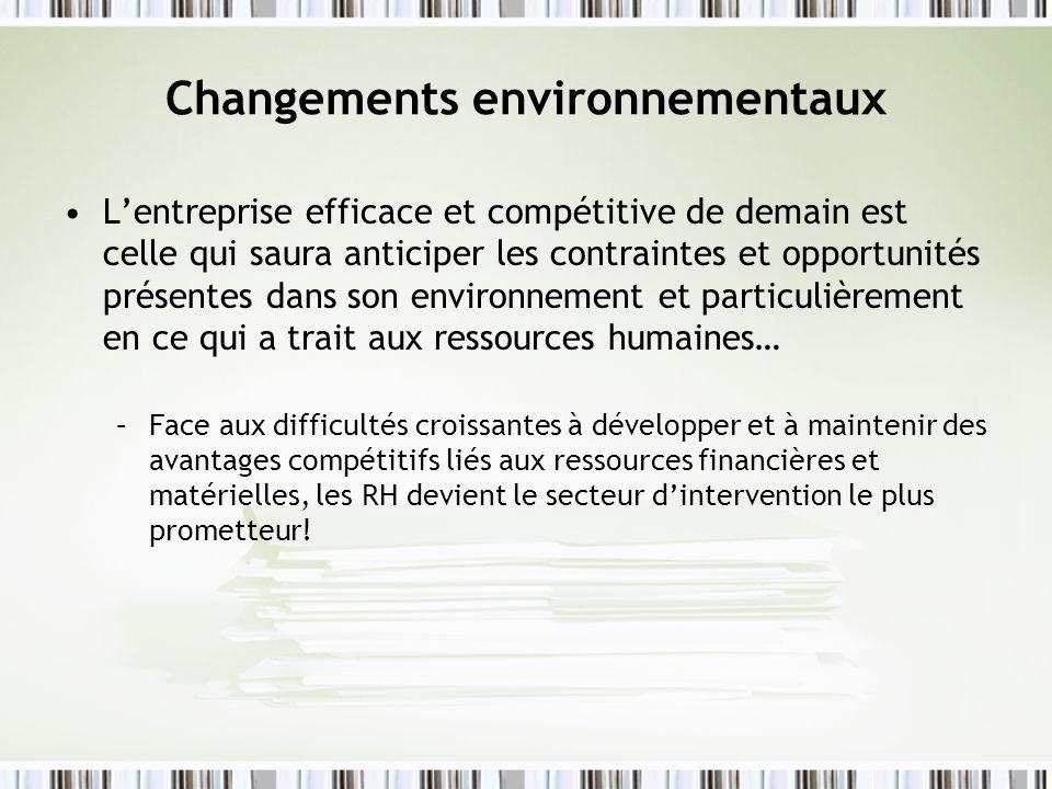 Impacts sur les organisations Défi de la productivité, du changement… « le statu quo cest la mort » Mettre laccent sur la qualité des produits Décentralisation, aplatissement des structures hiérarchiques (afin de favoriser une plus grande flexibilité dans lexécution des tâches et la prise de décision)