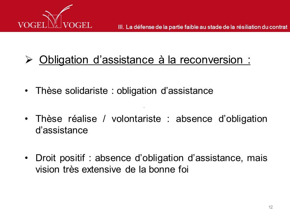 III. La défense de la partie faible au stade de la résiliation du contrat Obligation dassistance à la reconversion : Thèse solidariste : obligation da
