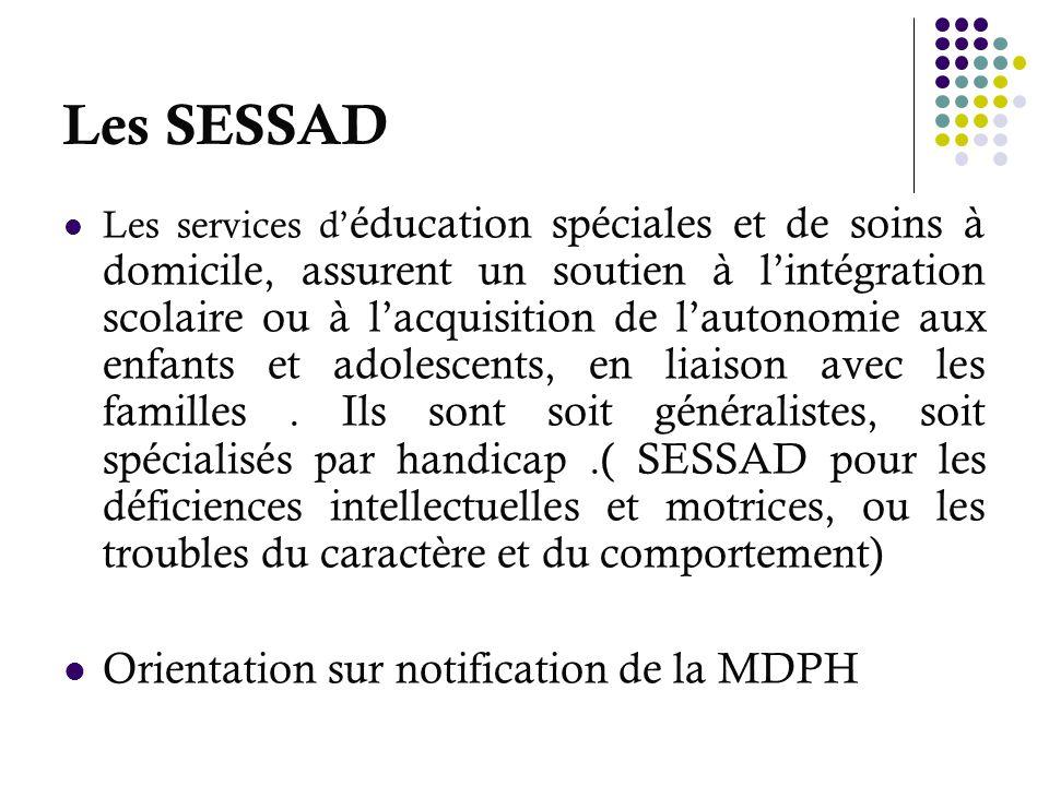 Les SESSAD Les services d éducation spéciales et de soins à domicile, assurent un soutien à lintégration scolaire ou à lacquisition de lautonomie aux