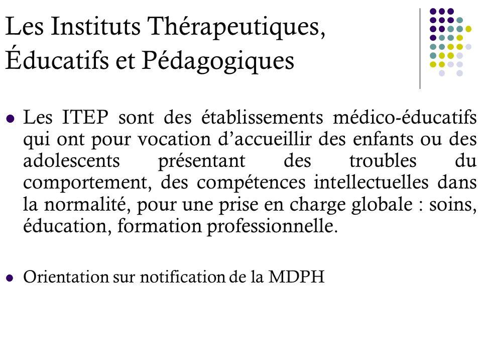 Les Instituts Thérapeutiques, Éducatifs et Pédagogiques Les ITEP sont des établissements médico-éducatifs qui ont pour vocation daccueillir des enfant